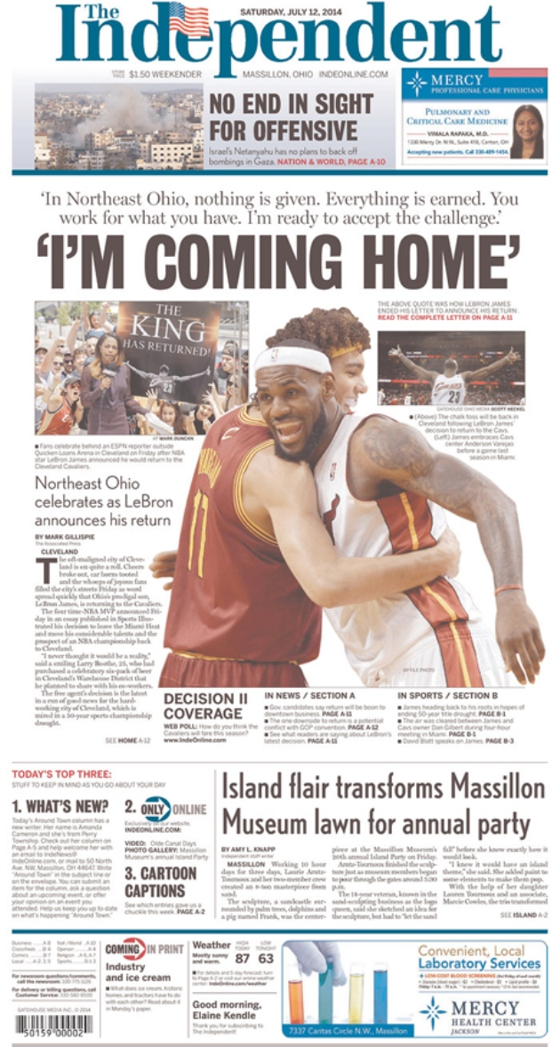 Newspaper Front Pages Get Blown Out For Lebron S Return To