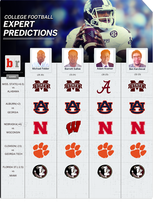 bleacher report college football picks saturday selections college gameday