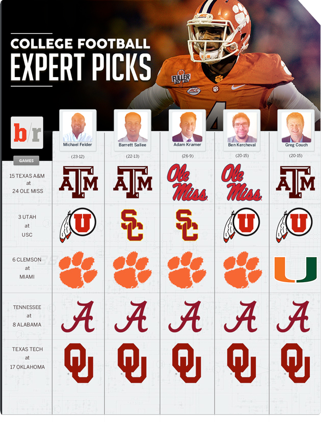 college football games last night expert picks