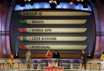 CAPE TOWN, SOUTH AFRICA - DECEMBER 4:  In this handout photo provided by the 2010 FIFA World Cup Organising Committee, Group G, showing Brazil, North Korea, Ivory Coast and Portugal during the 2010 Soccer World Cup Final Draw at the CTICC on December 4, 2009 in Cape Town, South Africa. (Photo by 2010 FIFA World Cup Organising Committee South Africa)