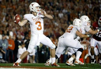 PASADENA, CA - JANUARY 07:  Quarterback Garrett Gilbert #3 of the Texas Longhorns drops back to pass against the Alabama Crimson Tide during the Citi BCS National Championship game at the Rose Bowl on January 7, 2010 in Pasadena, California.  (Photo by Jeff Gross/Getty Images)