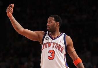 NEW YORK - FEBRUARY 20:  Tracy McGrady #3 of the New York Knicks gestures against the Oklahoma City Thunder at Madison Square Garden on February 20, 2010 in New York, New York. NOTE TO USER: User expressly acknowledges and agrees that, by downloading and or using this photograph, User is consenting to the terms and conditions of the Getty Images License Agreement.  (Photo by Nick Laham/Getty Images)