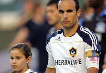 CARSON, CA - JULY 22:  Landon Donovan #10 of the Los Angeles Galaxy looks on prior to their MLS match against the San Jose Earthquakes at The Home Depot Center on July 22, 2010 in Carson, California. Donovan scored on the rebound to tie the game 2-2. The Earthquakes and the Galaxy played to a 2-2 draw.  (Photo by Victor Decolongon/Getty Images)