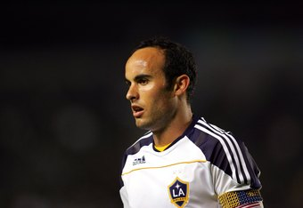 CARSON, CA - JULY 22:  Landon Donovan #10 of the Los Angeles Galaxy looks on prior to a corner kick in the second half of their MLS match against the San Jose Earthquakes at The Home Depot Center on July 22, 2010 in Carson, California. Donovan scored on the rebound to tie the game 2-2. The Earthquakes and the Galaxy played to a 2-2 draw.  (Photo by Victor Decolongon/Getty Images)