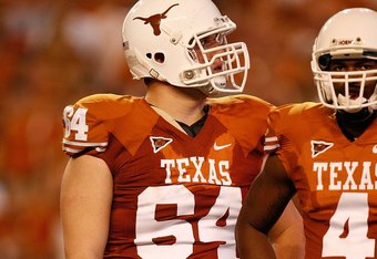 AUSTIN, TX - SEPTEMBER 19:  Tackle Kyle Hix #64 of the Texas Longhorns at Darrell K Royal-Texas Memorial Stadium on September 19, 2009 in Austin, Texas.  (Photo by Ronald Martinez/Getty Images)