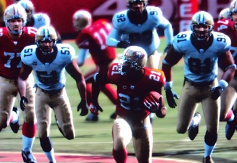 Frank Gore Doesn't Need To Look Back Behind Him On This 77 Yard Touchdown Run, But He Does Anyway, As If To Say