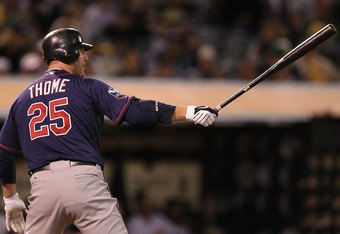 OAKLAND, CA - JUNE 04:  Jim Thome #25 of the Minnesota Twins bats against the Oakland Athletics during an MLB game at the Oakland-Alameda County Coliseum on June 4, 2010 in Oakland, California.  (Photo by Jed Jacobsohn/Getty Images)