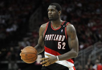 HOUSTON - APRIL 24:  Center Greg Oden #52 of the Portland Trail Blazers during play against the Houston Rockets in Game Three of the Western Conference Quarterfinals during the 2009 NBA Playoffs at Toyota Center on April 24, 2009 in Houston, Texas. NOTE TO USER: User expressly acknowledges and agrees that, by downloading and or using this photograph, User is consenting to the terms and conditions of the Getty Images License Agreement.  (Photo by Ronald Martinez/Getty Images)