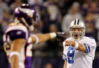 MINNEAPOLIS - JANUARY 17:  Tony Romo #9 of the Dallas Cowboys reacts during the game against the Minnesota Vikings during the NFC Divisional Playoff Game at Hubert H. Humphrey Metrodome on January 17, 2010 in Minneapolis, Minnesota. The Vikings defeated the Cowboys 34-3.  (Photo by Chris McGrath/Getty Images)