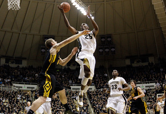 WEST LAFAYETTE, IN - JANUARY 09:  JaJuan Johnson #25 of the Purdue Boilermakers shoots the ball during the Big Ten Conference game against the Iowa Hawkeyes at Mackey Arena on January 9, 2011 in West Lafayette, Indiana.  Purdue won 75-52.  (Photo by Andy Lyons/Getty Images)