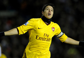 LEEDS, ENGLAND - JANUARY 19:  Samir Nasri of Arsenal celebrates scoring the opening goal during the FA Cup sponsored by E.On Third Round Replay match between Leeds United and Arsenal at Elland Road on January 19, 2011 in Leeds, England.  (Photo by Michael Regan/Getty Images)