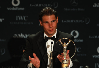 ABU DHABI, UNITED ARAB EMIRATES - FEBRUARY 07:  Laureus World Sportsman of the Year Rafael Nadal talks during a media press conference as part of the 2011 Laureus World Sports Awards at the Emirates Palace on February 7, 2011 in Abu Dhabi, United Arab Emirates.  (Photo by Bryn Lennon/Getty Images for Laureus)