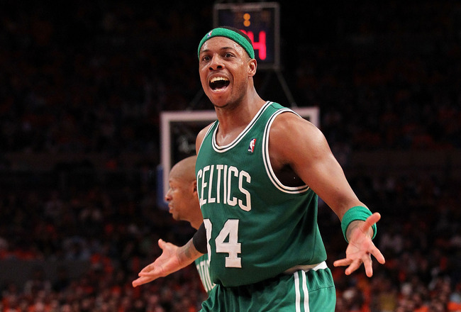 NEW YORK, NY - APRIL 24:  Paul Pierce #34 of the Boston Celtics reacts against the New York Knicks in Game Four of the Eastern Conference Quarterfinals during the 2011 NBA Playoffs on April 24, 2011 at Madison Square Garden in New York City. NOTE TO USER: User expressly acknowledges and agrees that, by downloading and or using this photograph, User is consenting to the terms and conditions of the Getty Images License Agreement  (Photo by Nick Laham/Getty Images)