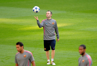 Andres Iniesta: Out of the starting XI with injury.