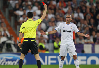 Pepe receives is marching orders.