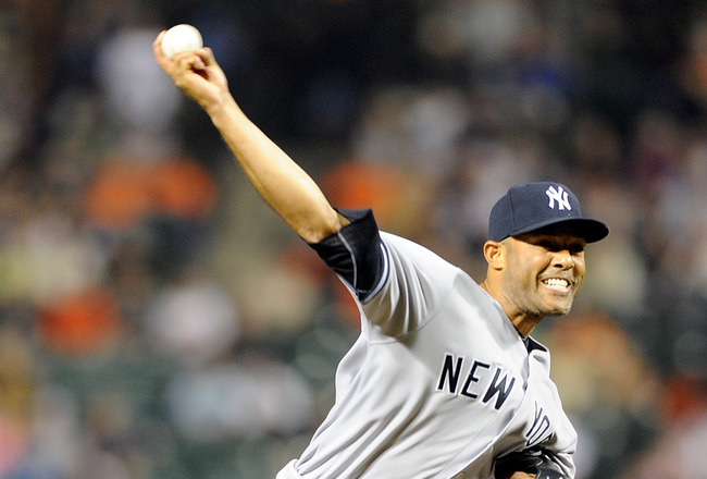BALTIMORE, MD - MAY 18: Mariano Rivera #42 of the New York Yankees pitches against the Baltimore Orioles at Oriole Park at Camden Yards on May 18, 2011 in Baltimore, Maryland. (Photo by Greg Fiume/Getty Images)