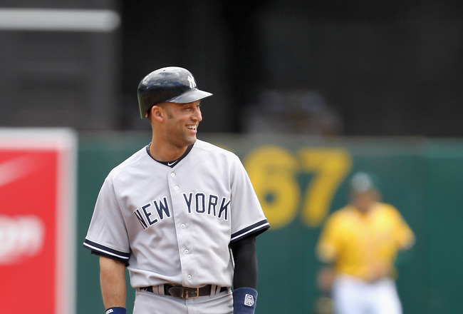 OAKLAND, CA - JUNE 01: Derek Jeter #2 of the New York Yankees smiles after he hit a double in the first inning against the Oakland Athletics at Oakland-Alameda County Coliseum on June 1, 2011 in Oakland, California. (Photo by Ezra Shaw/Getty Images)