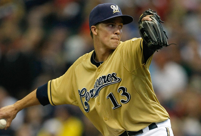 MILWAUKEE, WI - JUNE 11: Zach Greinke #13 of the Milwaukee Brewers pitches against the St. Louis Cardinals at the Miller Park on June 11, 2011 in Milwaukee, Wisconsin. (Photo by Scott Boehm/Getty Images)