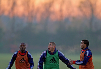 Dimitri Payet with Eric Abidal and Karim Benzema