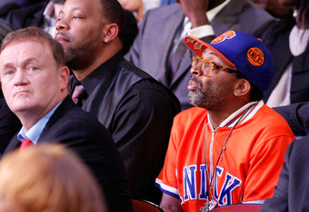Knicks fan Spike Lee at the draft, no doubt wondering what the Knicks were doing.