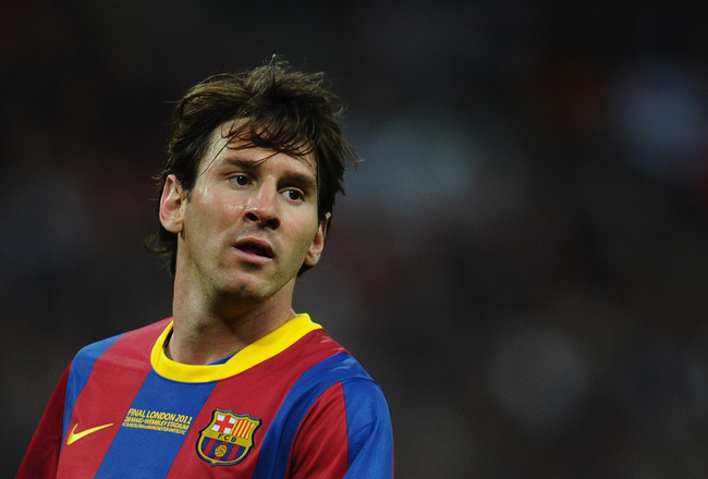 LONDON, ENGLAND - MAY 28:  Lionel Messi of FC Barcelona looks on during the UEFA Champions League final between FC Barcelona and Manchester United FC at Wembley Stadium on May 28, 2011 in London, England.  (Photo by Clive Mason/Getty Images)