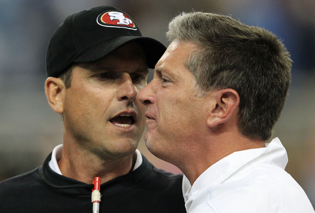 Coach fight NFL: San Francisco 49'ers Jim Harbaugh and Detroit Lions' Jim Schwartz