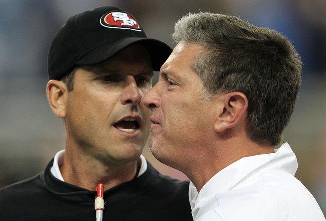 Coach fight NFL: San Francisco 49'ers Jim Harbaugh and Detroit Lions' Jim Schwartz