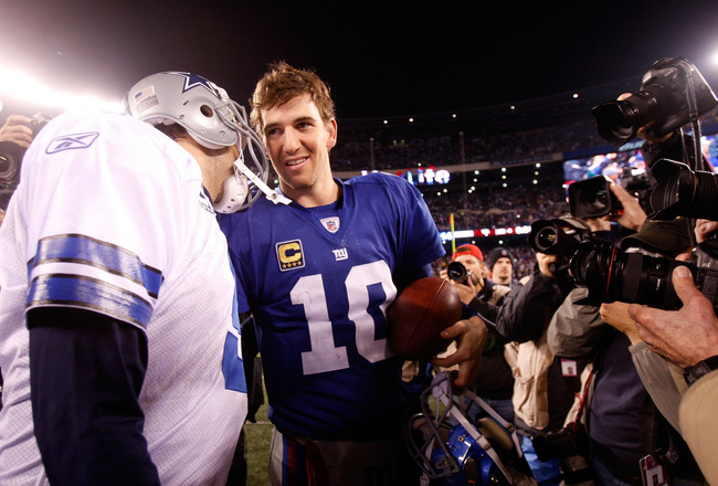 EAST RUTHERFORD, NJ - JANUARY 01:  Tony Romo #9 of the Dallas Cowboys and  Eli Manning #10 of the New York Giants greet each other after their game at MetLife Stadium on January 1, 2012 in East Rutherford, New Jersey.  (Photo by Rich Schultz/Getty Images)