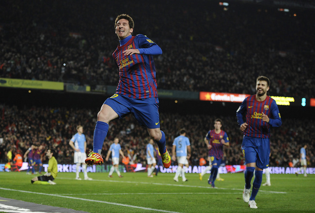 BARCELONA, SPAIN - JANUARY 04:  Lionel Messi of FC Barcelona celebrates after scoring his team's third goal during the round of last 16 Copa del Rey 1st leg match between FC Barcelona and CZ Osasuna at Camp Nou on January 4, 2012 in Barcelona, Spain.  (Photo by David Ramos/Getty Images)