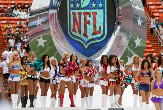 HONOLULU - JANUARY 30: The NFL Pro Bowl Cheerleaders during the 2011 NFL Pro Bowl pre-game between the American Football Conference (AFC) and National Football Conference (NFC) at Aloha Stadium at Aloha Stadium on January 30, 2011 in Honolulu, Hawaii.  (Photo by Kent Nishimura/Getty Images)