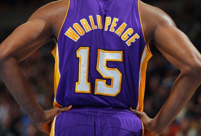 DENVER, CO - FEBRUARY 03:  Detail of the back of the jersey of Metta World Peace #15 of the Los Angeles Lakers as the Lakers defeated the Denver Broncos 93-89 at the Pepsi Center on February 3, 2012 in Denver, Colorado. NOTE TO USER: User expressly acknowledges and agrees that, by downloading and or using this photograph, User is consenting to the terms and conditions of the Getty Images License Agreement.  (Photo by Doug Pensinger/Getty Images)