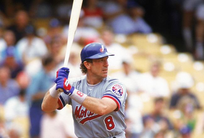 LOS ANGELES - JULY 8:  Gary Carter #8 of the Montreal Expos stands ready at the plate during a game against the Dodgers on July 8, 1992 at Dodger Stadium in Los Angeles, California. (Photo by Stephen Dunn/Getty Images)
