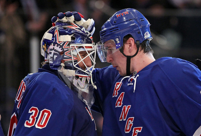 NEW YORK, NY - FEBRUARY 27:  Ryan McDonagh #27 of the New York Rangers congratulates Henrik Lundqvist #30 of the New York Rangers on his 2-0 shutout against the New Jersey Devils at Madison Square Garden on February 27, 2012 in New York City.  (Photo by Bruce Bennett/Getty Images)