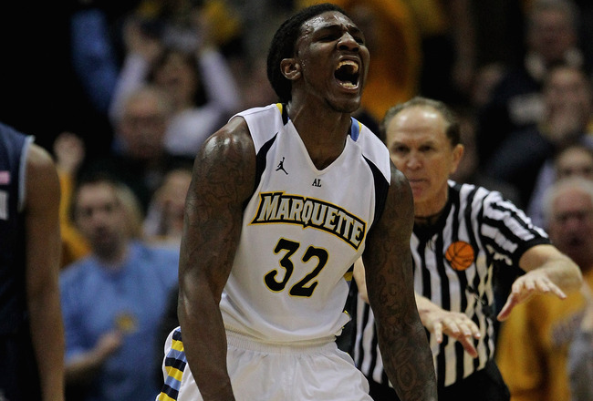 MILWAUKEE, WI - MARCH 03:  Jae Crowder #32 of the Marquette Golden Eagles celebrtaes hitting a shot and being fouled against the Georgetown Hoyas at the Bradley Center on March 3, 2012 in Milwaukee, Wisconsin. Marquette defeated Georgetown 83-69.  (Photo by Jonathan Daniel/Getty Images)