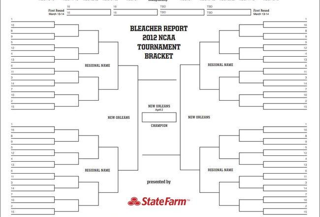 Printable NCAA Brackets 2012: Make Picks for Entire March Madness Tournament