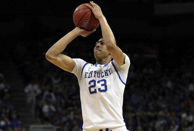 LOUISVILLE, KY - MARCH 17: Anthony Davis #23 of the Kentucky Wildcats attempts a shot in the first half against the Iowa State Cyclones during the third round of the 2012 NCAA Men's Basketball Tournament at KFC YUM! Center on March 17, 2012 in Louisville, Kentucky.  (Photo by Jonathan Daniel/Getty Images)