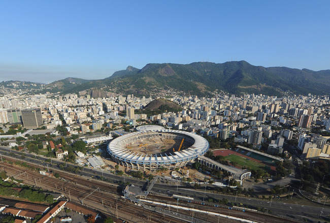 RIO DE JANEIRO, BRAZIL - JULY 27:  An arial view of construction work underway on the Maracana Stadium on July 27, 2011 in Rio de Janeiro, Brazil.  (Photo by Michael Regan/Getty Images)