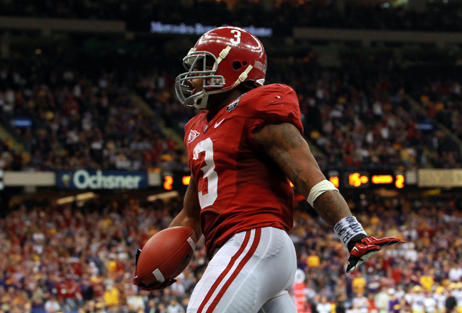 NEW ORLEANS, LA - JANUARY 09:  Trent Richardson #3 of the Alabama Crimson Tide celebrates after scoring a touchdown in the fourth quarter against the Louisiana State University Tigers during the 2012 Allstate BCS National Championship Game at Mercedes-Benz Superdome on January 9, 2012 in New Orleans, Louisiana.  (Photo by Ronald Martinez/Getty Images)