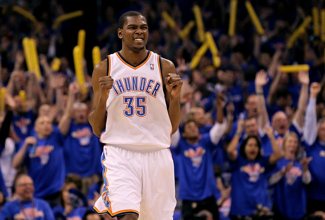 OKLAHOMA CITY, OK - MAY 15:  Forward Kevin Durant #35 of the Oklahoma City Thunder reacts against the Memphis Grizzlies in Game Seven of the Western Conference Semifinals in the 2011 NBA Playoffs on May 15, 2011 at Oklahoma City Arena in Oklahoma City, Oklahoma.  NOTE TO USER: User expressly acknowledges and agrees that, by downloading and or using this photograph, User is consenting to the terms and conditions of the Getty Images License Agreement.  (Photo by Ronald Martinez/Getty Images)
