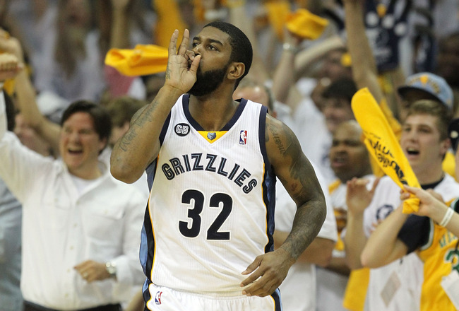 MEMPHIS, TN - APRIL 29: O.J. Mayo #32 of the Memphis Grizzlies celebrates after making a three point shot against the Los Angeles Clippers in Game One of the Western Conference Quarterfinals in the 2012 NBA Playoffs at FedExForum on April 29, 2012 in Memphis, Tennessee.  NOTE TO USER: User expressly acknowledges and agrees that, by downloading and or using this photograph, User is consenting to the terms and conditions of the Getty Images License Agreement.  (Photo by Andy Lyons/Getty Images)