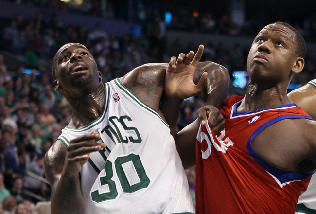 BOSTON, MA - MAY 12:  Brandon Bass #30 of the Boston Celtics and Lavoy Allen #50 of the Philadelphia 76ers battle for position in Game One of the Eastern Conference Semifinals in the 2012 NBA Playoffs on May 12, 2012 at TD Garden in Boston, Massachusetts. The Boston Celtics defeated the Philadelphia 76ers 92-91. NOTE TO USER: User expressly acknowledges and agrees that, by downloading and or using this photograph, User is consenting to the terms and conditions of the Getty Images License Agreement.  (Photo by Elsa/Getty Images)