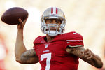 SAN FRANCISCO, CA - OCTOBER 18:  Quarterback Colin Kaepernick #7 of the San Francisco 49ers throws before a game against the Seattle Seahawks on October 18, 2012 at Candlestick Park in San Francisco, California.  The 49ers won 13-6.  (Photo by Brian Bahr/Getty Images)