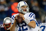 FOXBORO, MA - NOVEMBER 18: Andrew Luck #12 of the Indianapolis Colts prepares to throw against the New England Patriots at Gillette Stadium on November 18, 2012 in Foxboro, Massachusetts. (Photo by Jim Rogash/Getty Images)