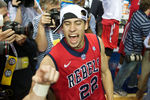 Mar 17, 2013; Nashville, TN, USA; Mississippi Rebels guard Marshall Henderson (22) celebrates after the championship game of the SEC tournament at Bridgestone Arena. Mississippi won 66-63. Mandatory Credit: Joshua Lindsey-USA TODAY Sports