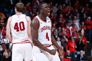 DAYTON, OH - MARCH 24: Victor Oladipo #4 of the Indiana Hoosiers celebrates after a play late in the game against the Temple Owls during the third round of the 2013 NCAA Men's Basketball Tournament at UD Arena on March 24, 2013 in Dayton, Ohio.  (Photo by Joe Robbins/Getty Images)
