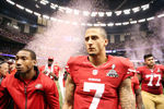 NEW ORLEANS, LA - FEBRUARY 03:  Colin Kaepernick #7 of the San Francisco 49ers walks off the field after losing against the Baltimore Ravens in Super Bowl XLVII at the Mercedes-Benz Superdome on February 3, 2013 in New Orleans, Louisiana.  (Photo by Christian Petersen/Getty Images)