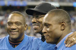 Detroit Lions running backs Billy Simms and Barry Sanders flank Lem Barney before play against  the Indianapolis Colts in a Thanksgiving Day game, November 25, 2005 in Detroit.  The Colts defeated the Lions 41 to 9.  (Photo by Al Messerschmidt/Getty Images)