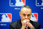 NEW YORK, NY - NOVEMBER 22:  Major League Baseball Executive Vice President Rob Manfred speaks at a news conference at MLB headquarters on November 22, 2011 in New York City. Commissioner Bud Selig announced a new five-year labor agreement between Major League Baseball and the Major League Baseball Players Association.  (Photo by Patrick McDermott/Getty Images)