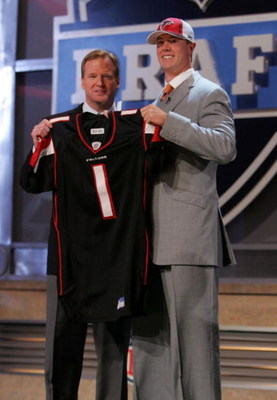 NEW YORK - APRIL 26:  Matt Ryan poses for a photo after being selected third overall by the Atlanta Falcons with National Football League Commissioner Roger Goodell during the 2008 NFL Draft on April 26, 2008 at Radio City Music Hall in New York, New York