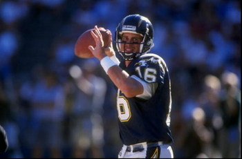 18 Oct 1998:  Quarterback Ryan Leaf #16 of the San Diego Chargers looks to throw during a game against the Philadelphia Eagles at Qualcomm Stadium in San Diego, California. The Chargers defeated the Eagles 13-10Mandatory Credit: Todd Warshaw  /Allsport